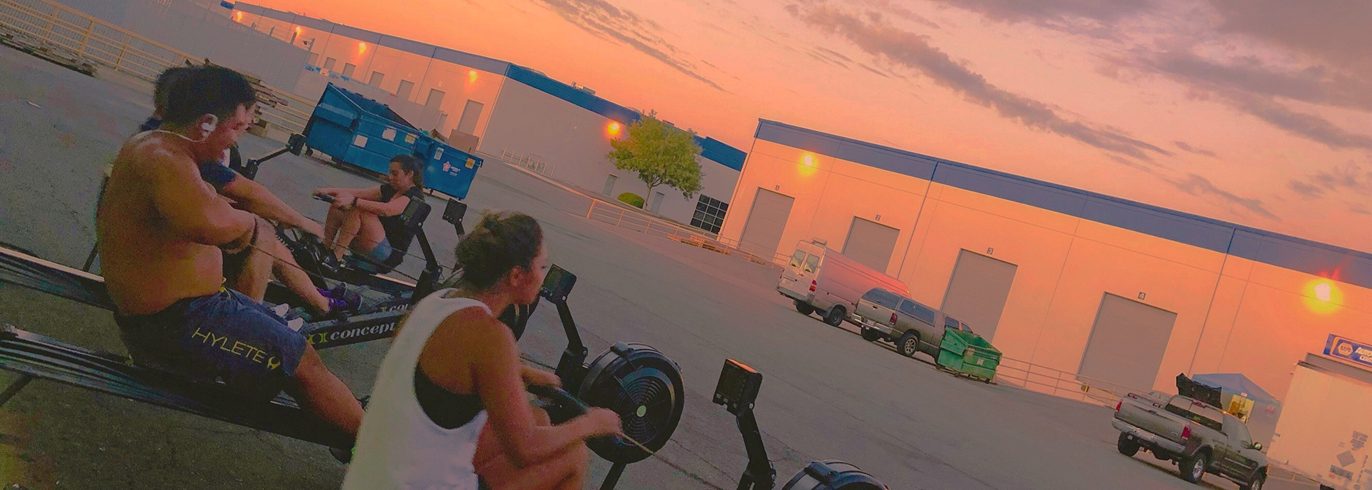 CrossFit Natomas Rowing at Sunset